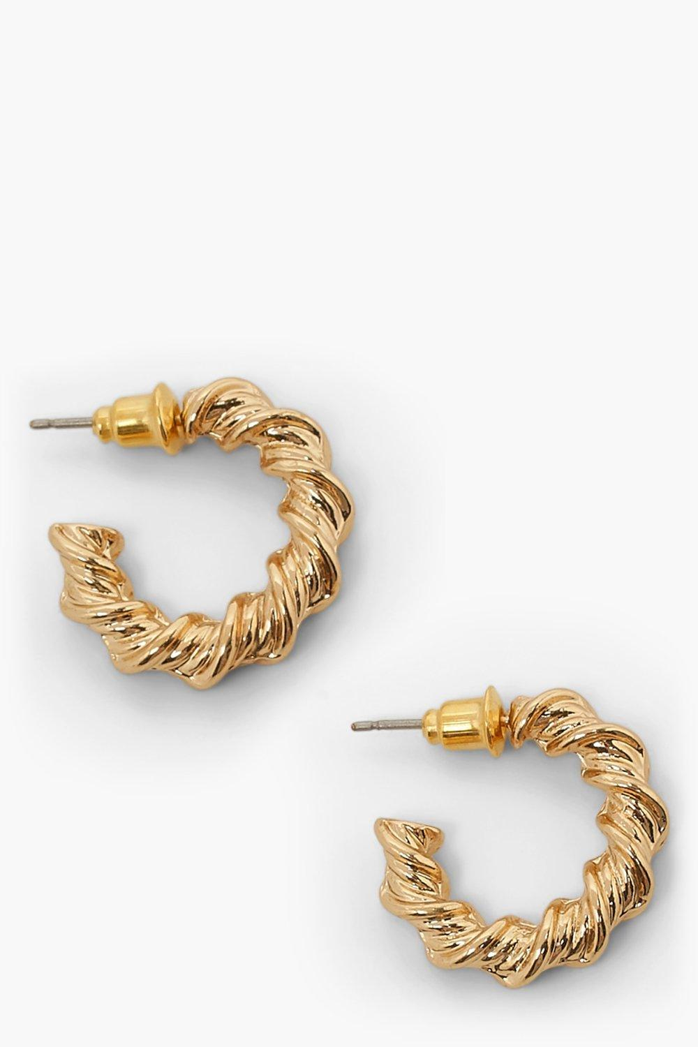Boohoo Chunky Twisted Hoop Earrings