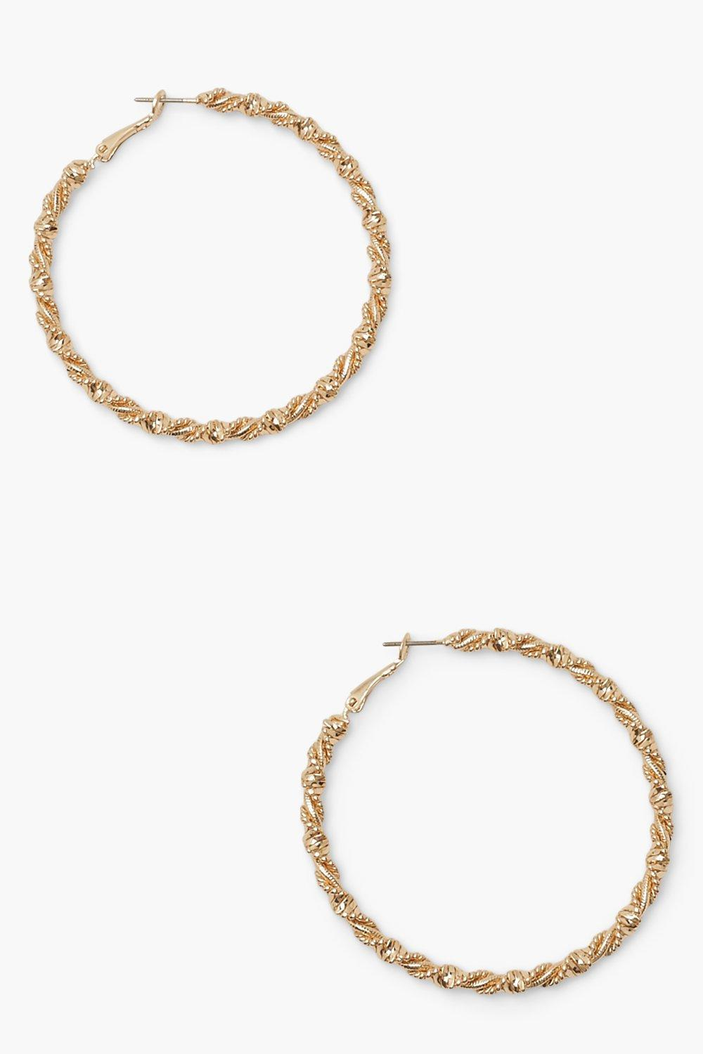 Boohoo Wrapped Twisted Hoop Earrings