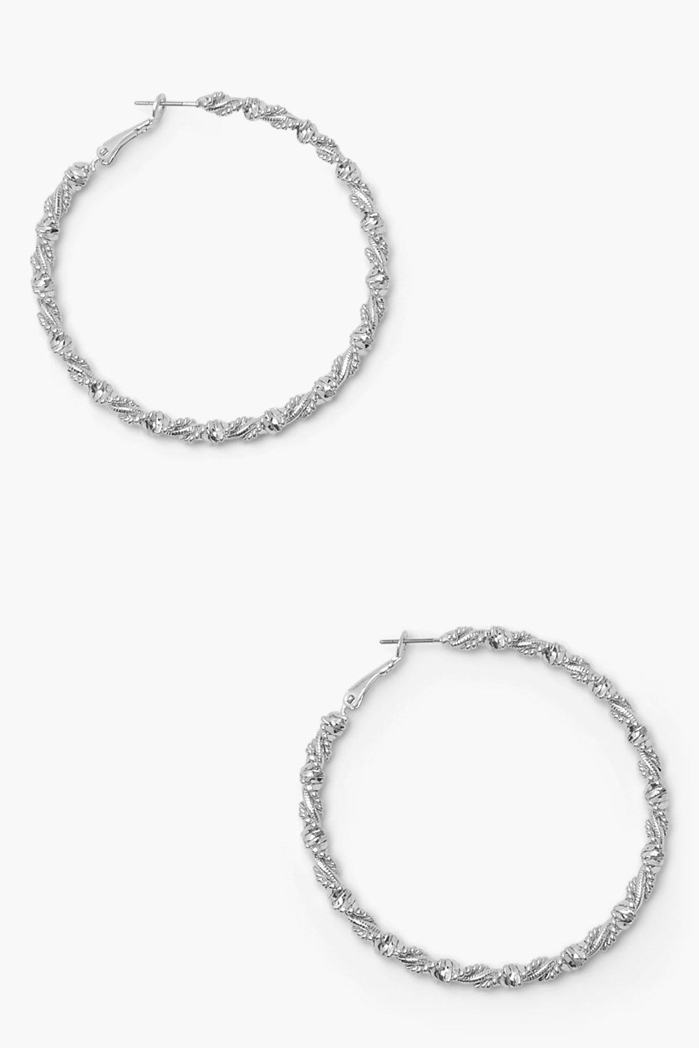 Boohoo Wrapped Twisted Hoop Earrings, Silver