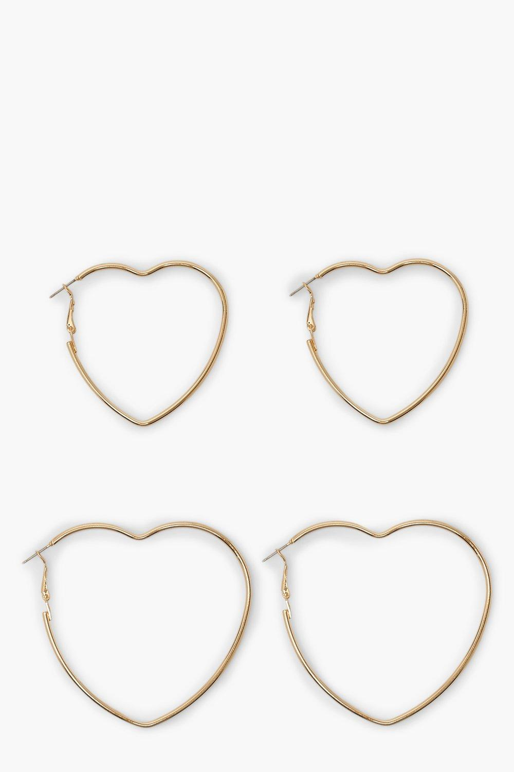 Boohoo 2 Pack Slim Heart Hoop Earrings