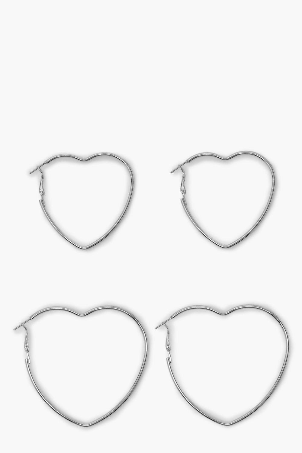 Boohoo 2 Pack Slim Heart Hoop Earrings, Silver