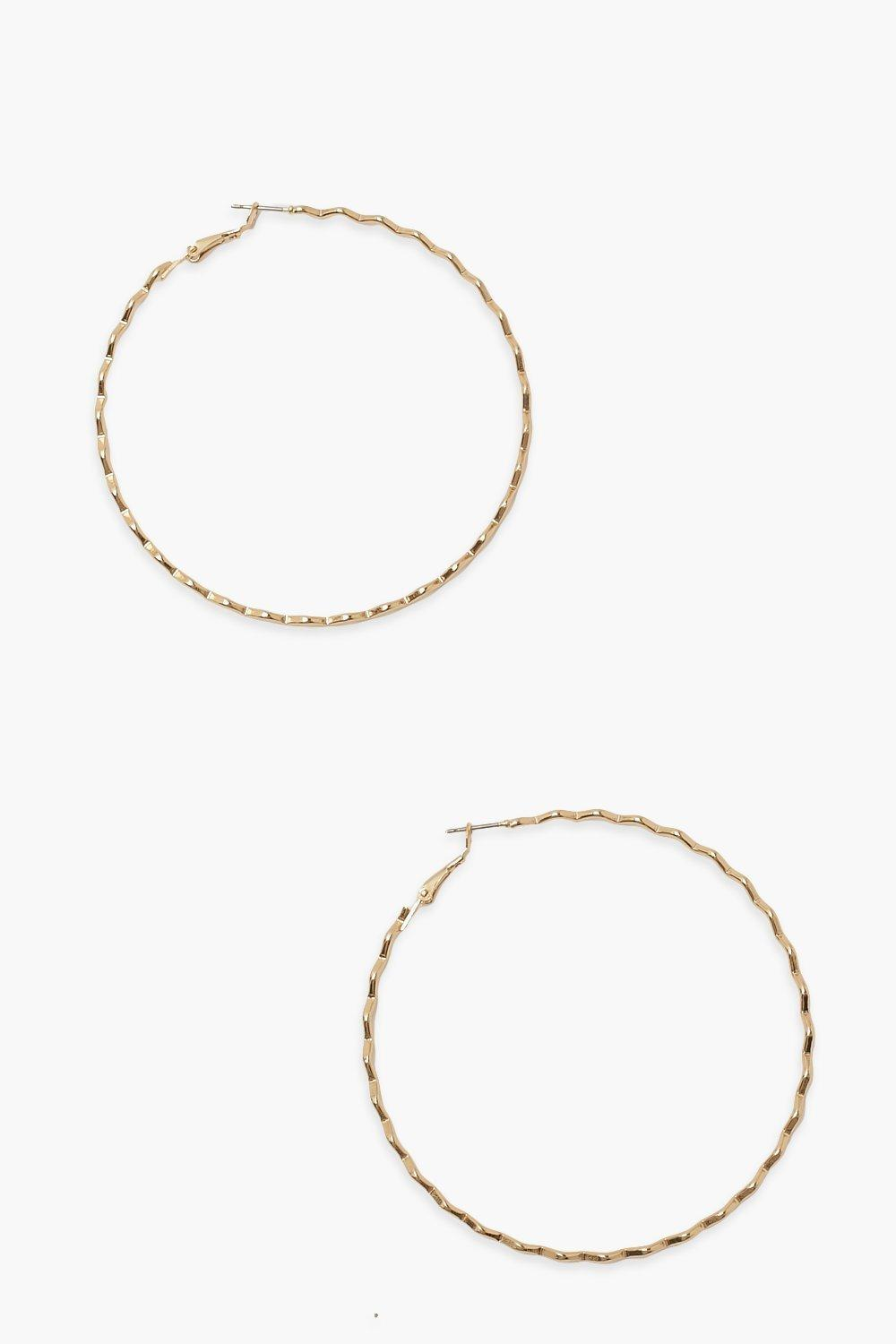 Boohoo Super Slim Zig Zag Hoops, Gold