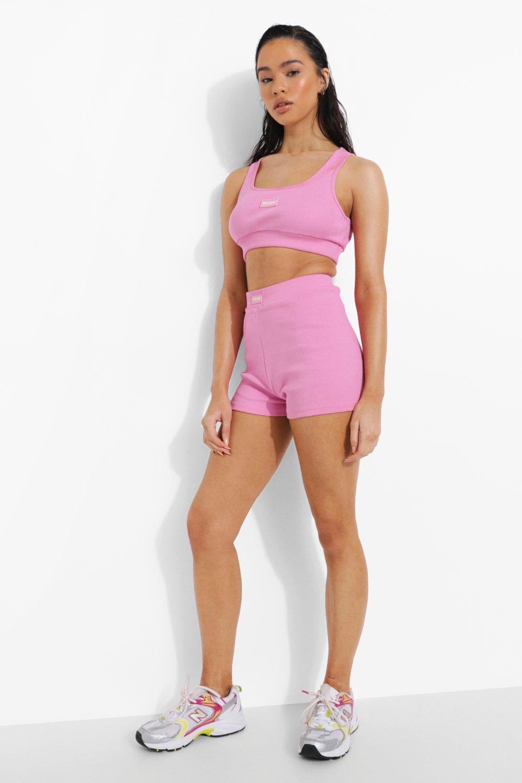 Womens Premium Gerippte Shorts - Pink - 42, Pink