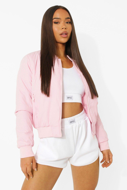 Boohoo Pastel Bomber Jacket, Pink