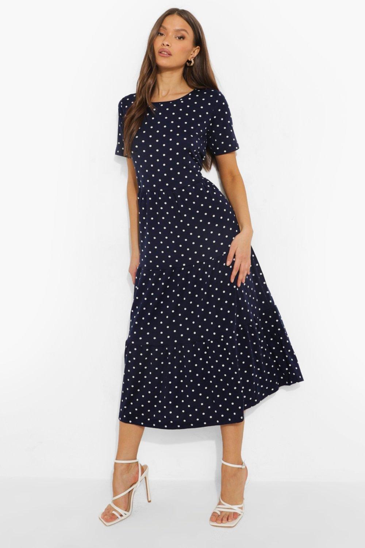 Boohoo Polka Dot Smock Maxi Dress