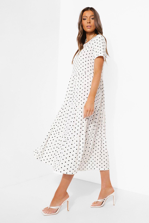 Boohoo Polka Dot Smock Maxi Dress, White