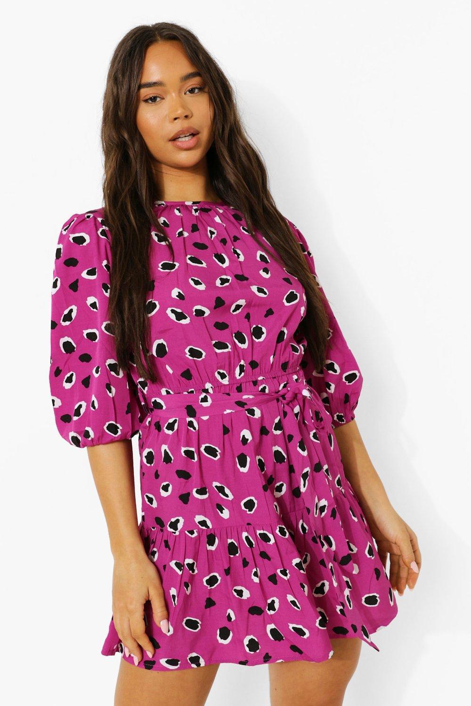 Boohoo Leopard Print Drop Hem Skater Dress