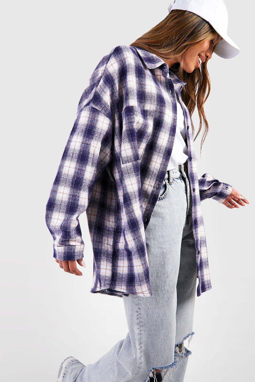 Womens Oversized Flannel Shirt - Blue - 8