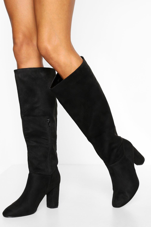 boohoo Wide Fit Block Heel Knee Boots, Black
