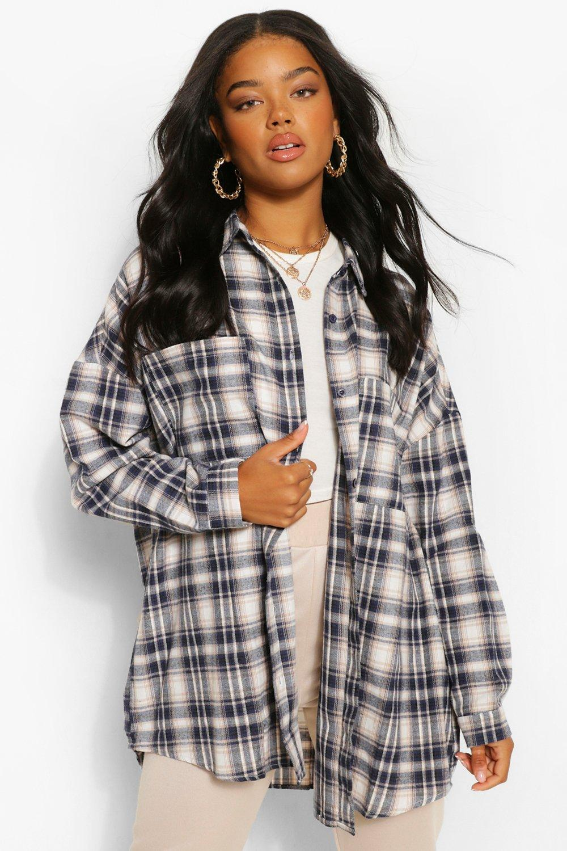 Womens Oversized Flannel Shirt - Navy - 8