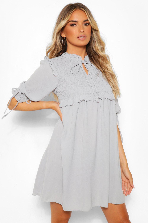 boohoo Womens Woven Long Sleeve Shirred Smock Dress - Grey - 8, Grey