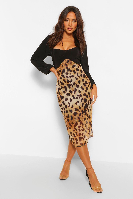 boohoo Womens Leopard Mesh Contrast Midi Dress - Brown - 14, Brown