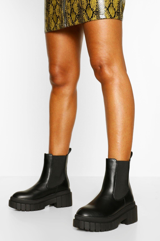 boohoo Pull On Chelsea Boots Met Hoge Zool