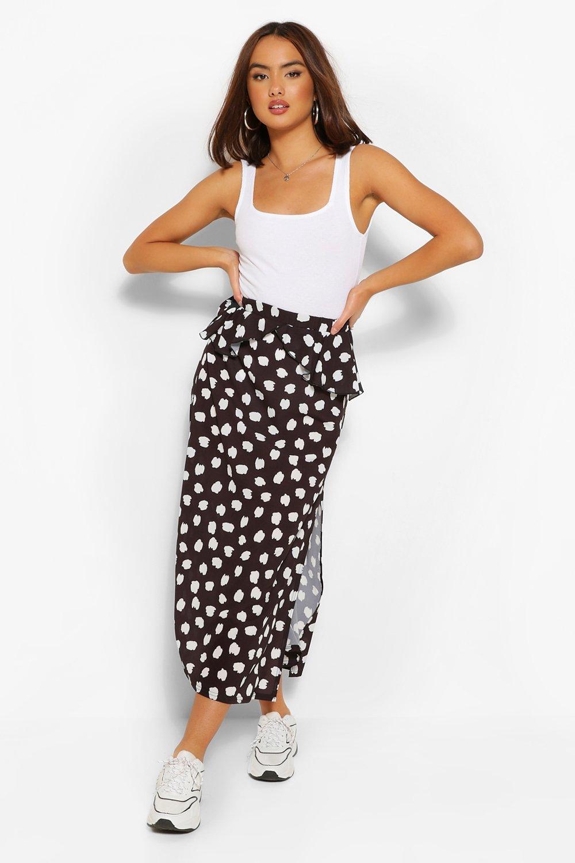 boohoo Womens Smudge Print Peplum Split Midi Skirt - Black - 8, Black