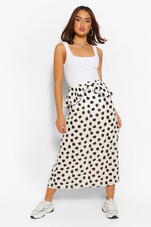 boohoo Womens Smudge Print Peplum Split Midi Skirt - Cream - 10, Cream