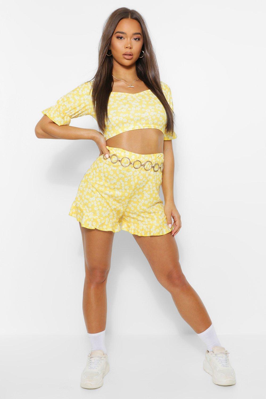 boohoo Womens Ditsy Ruffle Crop And Shorts Co Ord - Yellow - 10, Yellow