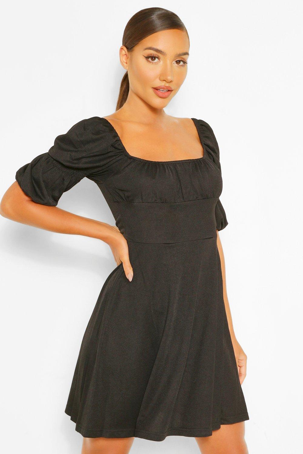 boohoo Womens Puff Sleeve Rouched Bust Skater Dress - Black - 10, Black