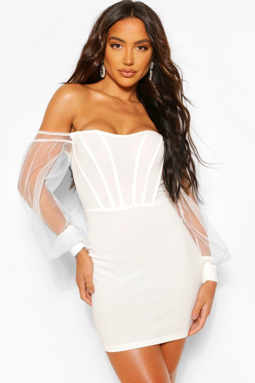 boohoo Womens Corset Detail Off The Shoulder Bodycon Mini Dress - White - 14, White