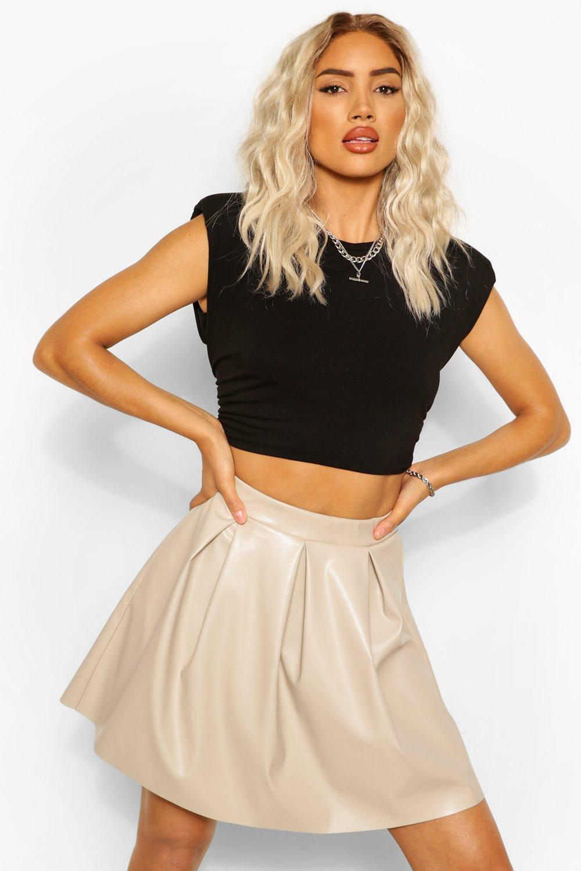 boohoo Womens Leather Look Pleated Skirt - Beige - 14, Beige