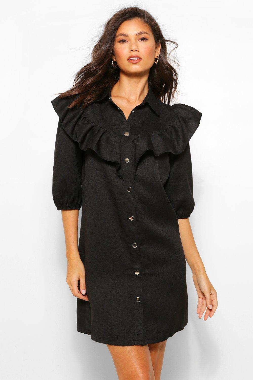 boohoo Womens Ruffle Sleeve Collared Shift Dress - Black - 14, Black