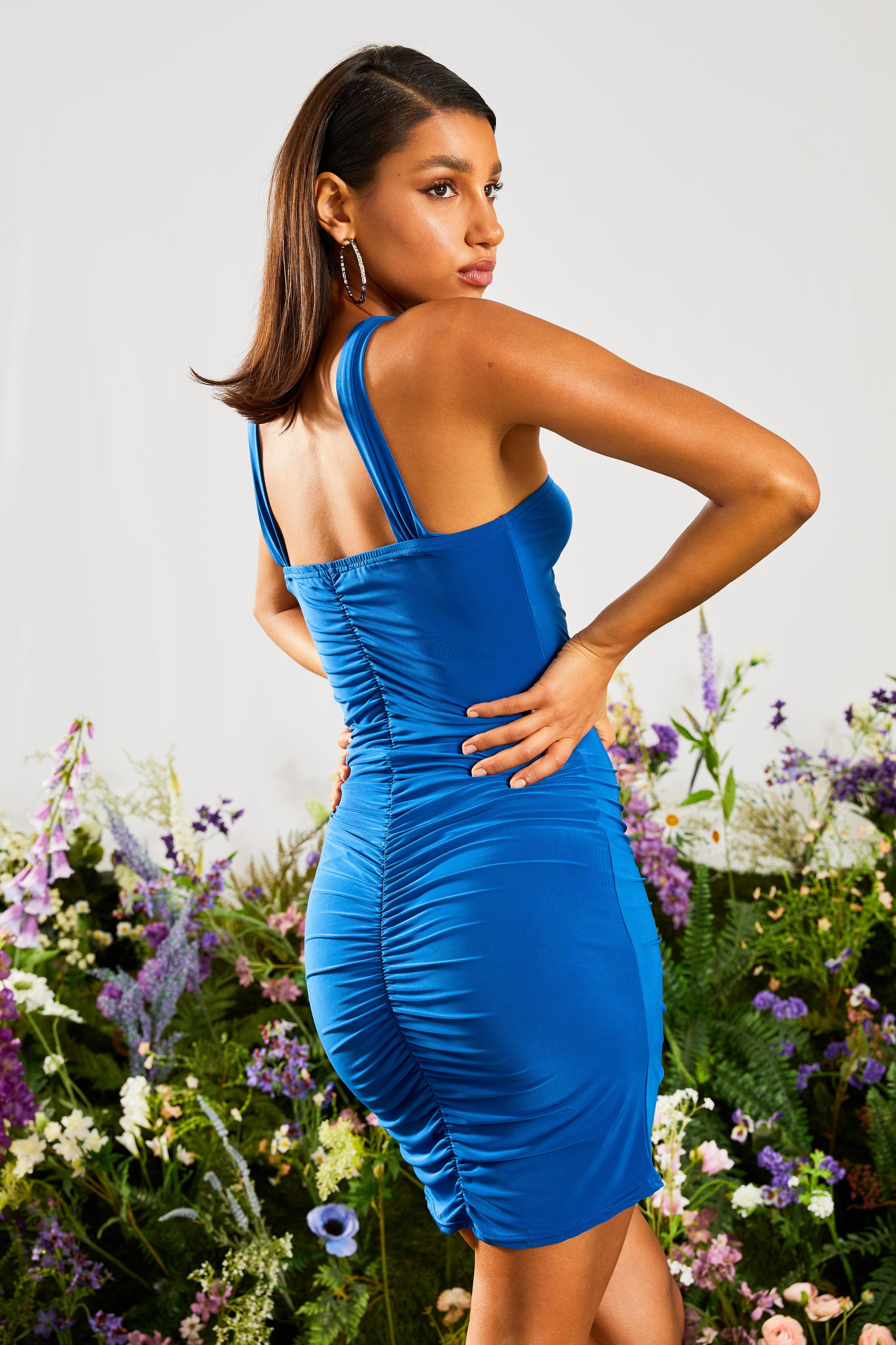 boohoo Womens Ruched High Neck Bodycon Dress - Blue - 16, Blue