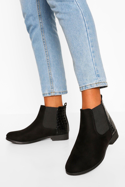 boohoo Croc Panel Flat Chelsea Boots