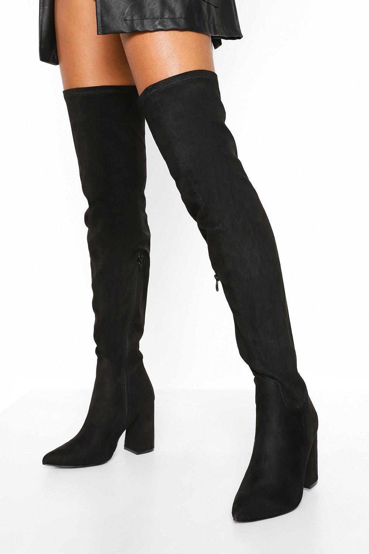 boohoo Wide Fit Block Heel Over The Knee Boots
