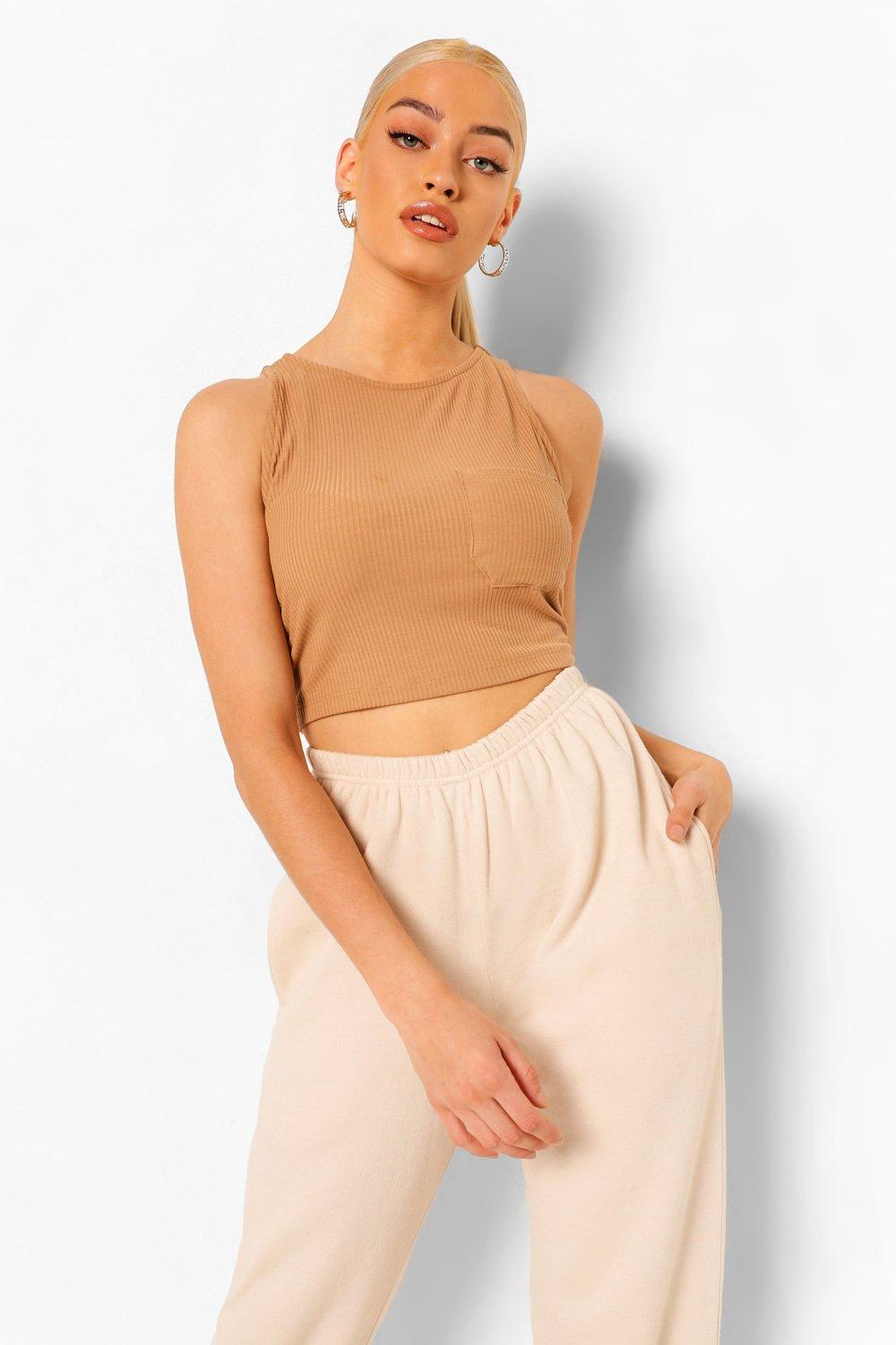 boohoo Rib Pocket Crop Top, Kameel