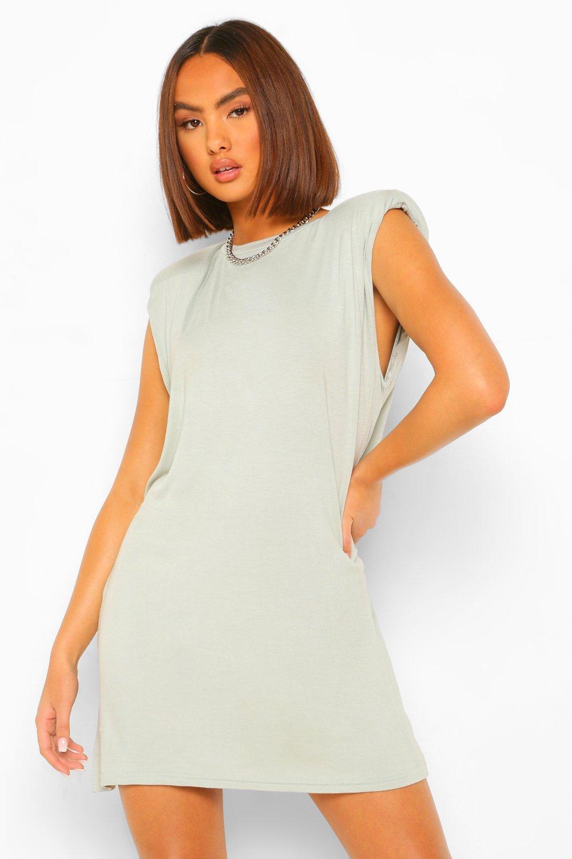 Womens T-Shirt-Kleid Mit Schulterpolstern - Salbeigrün - 32, Salbeigrün