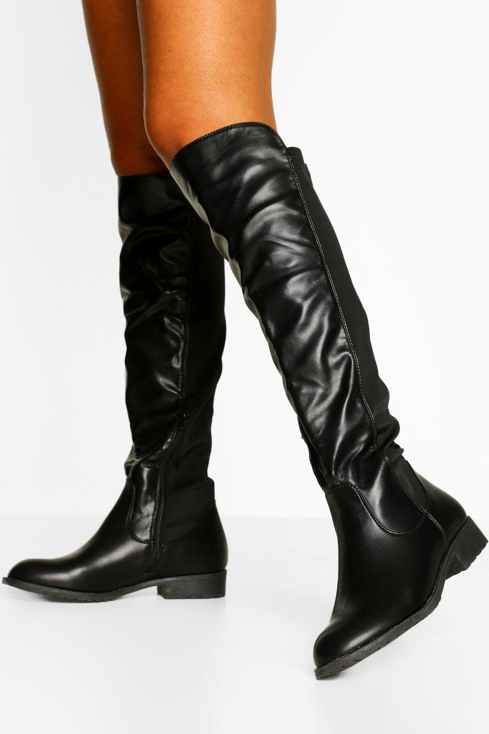 boohoo Tall Fit Knee High Riding Boots