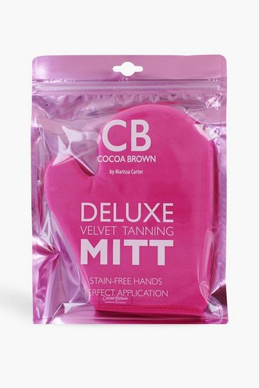 Pink Cocoa Brown Velvet Tanning Mitt with Thumb