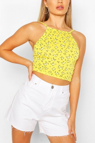 Yellow Square Neck Ditsy Print Top