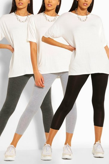 Grey marl 3 Pack Basic High Waist Leggings