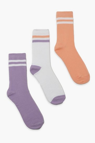Multi Pastel Stripe Sports 3 Pack Socks