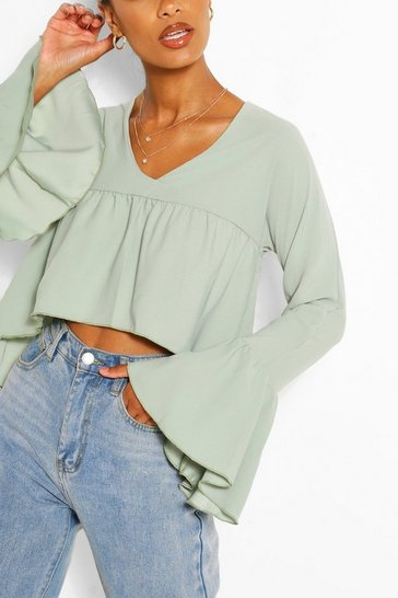 Sage Woven Flare Sleeve Smock Top