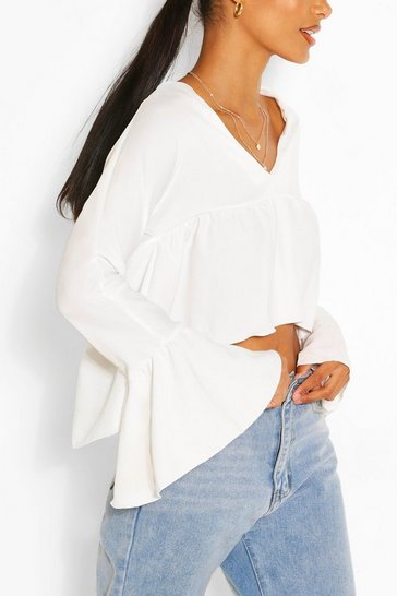White Woven Flare Sleeve Smock Top