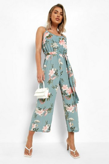 Green Floral Print Strappy Culotte Jumpsuit