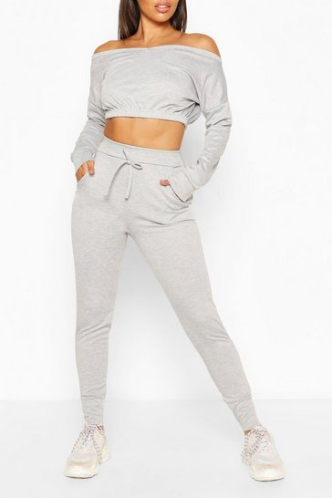 Silver CROP SWEAT AND JOGGER SET