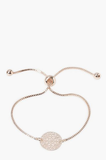 Rose gold Textured Coin Push Bead Bracelet