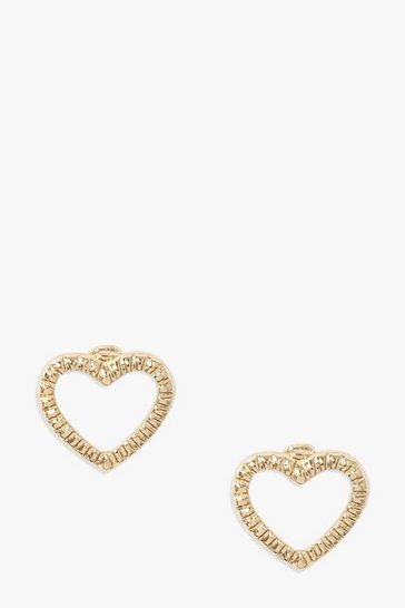 Gold Textured Heart Studs