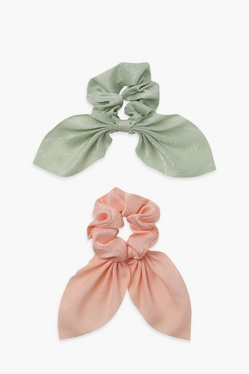 Multi Bow Detail 2 Pack Ruched Scrunchie