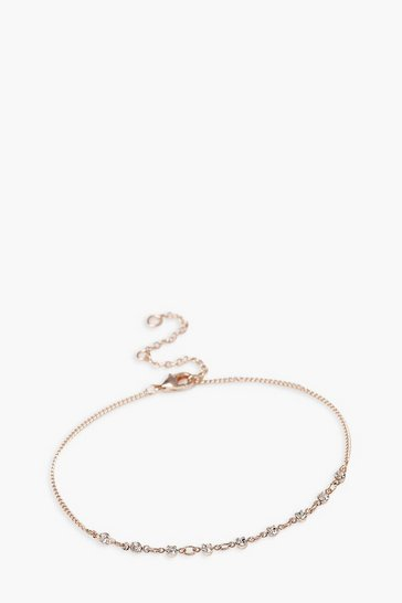 Rose gold Diamante Chain Detail Dainty Anklet