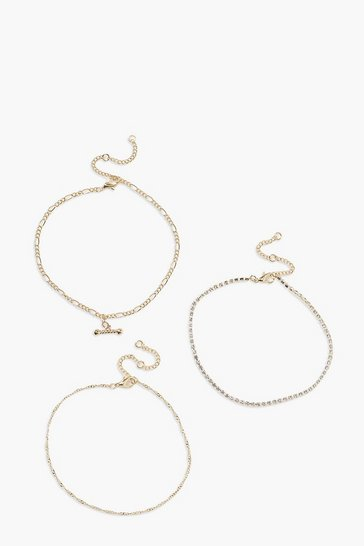 Gold T Bar Chain Detail 3 Pack Anklets