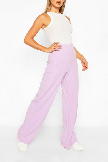 Lilac High Waist Basic Crepe Wide Leg Trousers