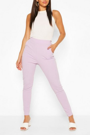 Lilac Pastel Pocket Detail Casual Skinny Trousers