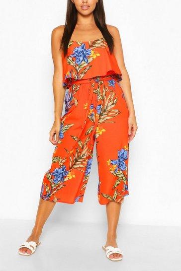 Orange Floral Print Strappy Overlay Jumpsuit