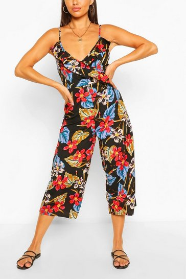 Black Tropical Floral Print Strappy Culotte Jumpsuit