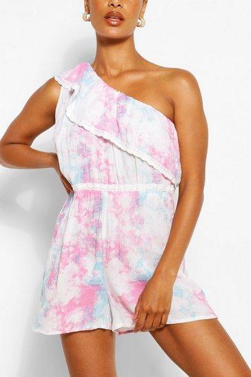 Ivory Pastel Tie Dye One Shoulder Lace Trim Playsuit