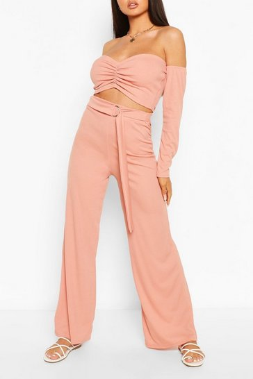 Rose Ribbed Ruched Bardot Top & Wide Leg Trouser