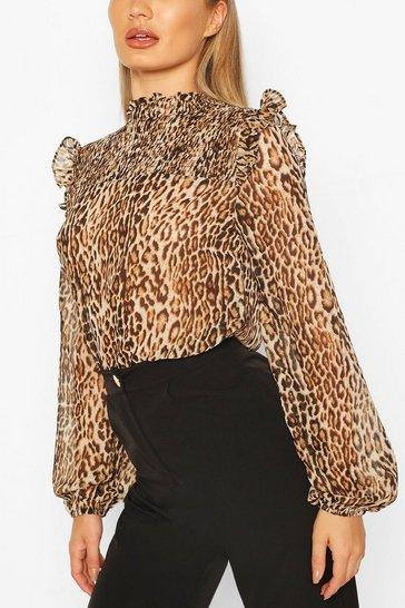 Brown Leopard Shirred Neck Blouse